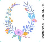 colorful floral flowers... | Shutterstock .eps vector #2002437041