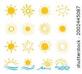 set of doodle sun.design... | Shutterstock .eps vector #2002445087