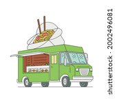 asian food truck with noodle... | Shutterstock .eps vector #2002496081