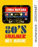 cuba havana music cassette ... | Shutterstock .eps vector #200249687
