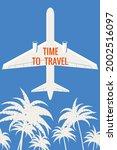 retro poster plane in the sky ... | Shutterstock .eps vector #2002516097