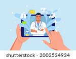 online consultation with doctor....   Shutterstock .eps vector #2002534934