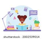 black girl reading book. black...   Shutterstock .eps vector #2002539014