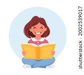 girl reading book. girl doing...   Shutterstock .eps vector #2002539017