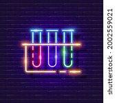test tube neon sign. chemistry...   Shutterstock .eps vector #2002559021