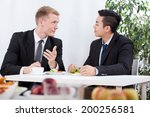 diverse workers eating lunch in ... | Shutterstock . vector #200256581