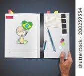kid holding a heart flag...   Shutterstock .eps vector #200259554