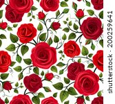 Stock vector seamless pattern with red roses vector illustration 200259641