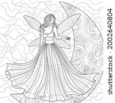 fairy in the moon.coloring... | Shutterstock .eps vector #2002640804