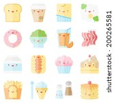 flat icons set of popular food... | Shutterstock .eps vector #200265581