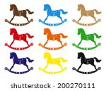Vector rocking horse in different colors