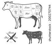 british cuts of beef diagram | Shutterstock . vector #200270744
