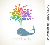 vector icon of whale with color ... | Shutterstock .eps vector #200273147