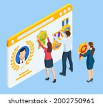 isometric gold medal with star... | Shutterstock .eps vector #2002750961