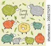 cute set with funny sheep in... | Shutterstock .eps vector #200275295