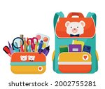 a bright school pencil case  a... | Shutterstock .eps vector #2002755281