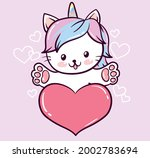 cute sweet magic unicorn cat... | Shutterstock .eps vector #2002783694