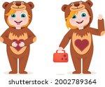 cute kid wearing animal costume | Shutterstock .eps vector #2002789364