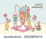 people are making a giant mint... | Shutterstock .eps vector #2002809674