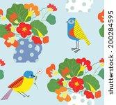 bird and flowers pot seamless... | Shutterstock .eps vector #200284595