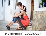 loving mother and son hugging... | Shutterstock . vector #200287289