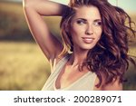 portrait of a  woman on golden... | Shutterstock . vector #200289071