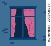 empty window frame with half... | Shutterstock .eps vector #2002935194