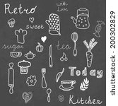 vintage kitchen set on... | Shutterstock .eps vector #200302829
