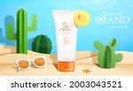3d papercutting sunscreen ad.... | Shutterstock .eps vector #2003043521
