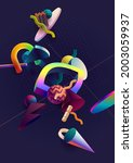 abstract graphic composition of ... | Shutterstock .eps vector #2003059937