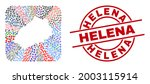 Vector collage Saint Helena Island map of different icons and Helena badge. Collage Saint Helena Island map constructed as hole from rounded square shape. Red round badge with Helena tag.