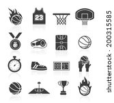 basketball icon set | Shutterstock .eps vector #200315585