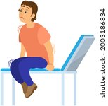 man is scared and sitting on... | Shutterstock .eps vector #2003186834