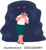 scared woman and shadow monster ... | Shutterstock .eps vector #2003186894