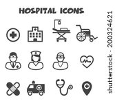 hospital icons  mono vector...   Shutterstock .eps vector #200324621