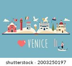 tourist poster with famous... | Shutterstock .eps vector #2003250197