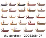 Gondolier Icons Set Cartoon...