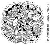 fastfood vector doodles... | Shutterstock .eps vector #2003270147