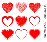 set of hand drawn grunge hearts ... | Shutterstock . vector #200336111