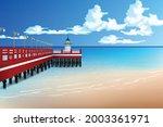 bay jetty and sea beach scenery.... | Shutterstock .eps vector #2003361971