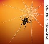 spider on web on orange... | Shutterstock .eps vector #200337029