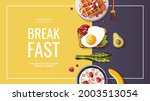 toast with scrambled eggs ... | Shutterstock .eps vector #2003513054