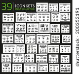 Mega collection of black glossy icon sets with 3d effect - 39 computer pictogram sets