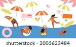 tourists swim  sunbathe  engage ... | Shutterstock .eps vector #2003623484