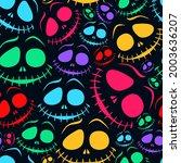 halloween seamless pattern with ...   Shutterstock .eps vector #2003636207