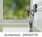 chrome utensils on the marble... | Shutterstock . vector #200363735