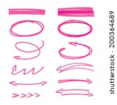 set of pink hand drawn arrows... | Shutterstock .eps vector #200364689