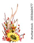 Watercolor Fall Sunflower  ...