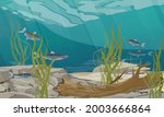 the bottom of a pond  lake or... | Shutterstock .eps vector #2003666864
