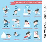 12 ways to relax infographics cartoon
